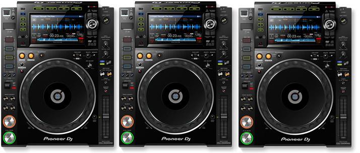 3 x Pioneer CDJ 2000 NXS2